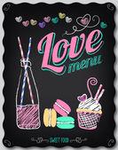 Love. Menu on the chalkboard — Stock Vector