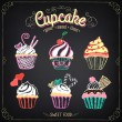 Cupcake collection. Chalking, freehand drawing — Imagen vectorial