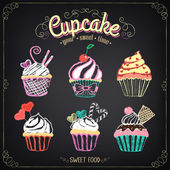 Cupcake collection. Chalking, freehand drawing — Stock Vector