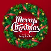 Christmas wreath. Vector illustration — Stock Vector