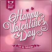 Happy Valentines Day backgroun. Retro design hand lettering — Stock Vector