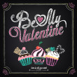 Vintage card with cupcakes for Valentine's Day. Chalking, freehand drawing — Stockvector