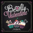 Stok Vektör: Vintage card with cupcakes for Valentine's Day. Chalking, freehand drawing