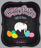 Happy Easter background. Vintage design hand lettering — Stock Vector