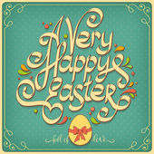 Happy Easter vintage card, calligraphy — Stock Vector