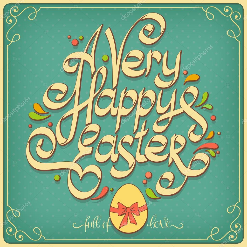 Happy easter vintage card calligraphy — stock vector