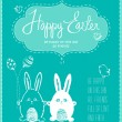 Cute happy Easter card with funny bunnies, eggs, birds and chicken — Stock Vector