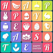 Easter set - bunnies, eggs, basket, letters and other graphic elements — Stock Vector