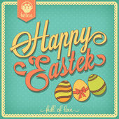 Happy Easter background. Vintage design. Lettering freehand  — Stock Vector