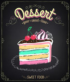 Dessert: cake. Chalking, freehand drawing — Stock Vector
