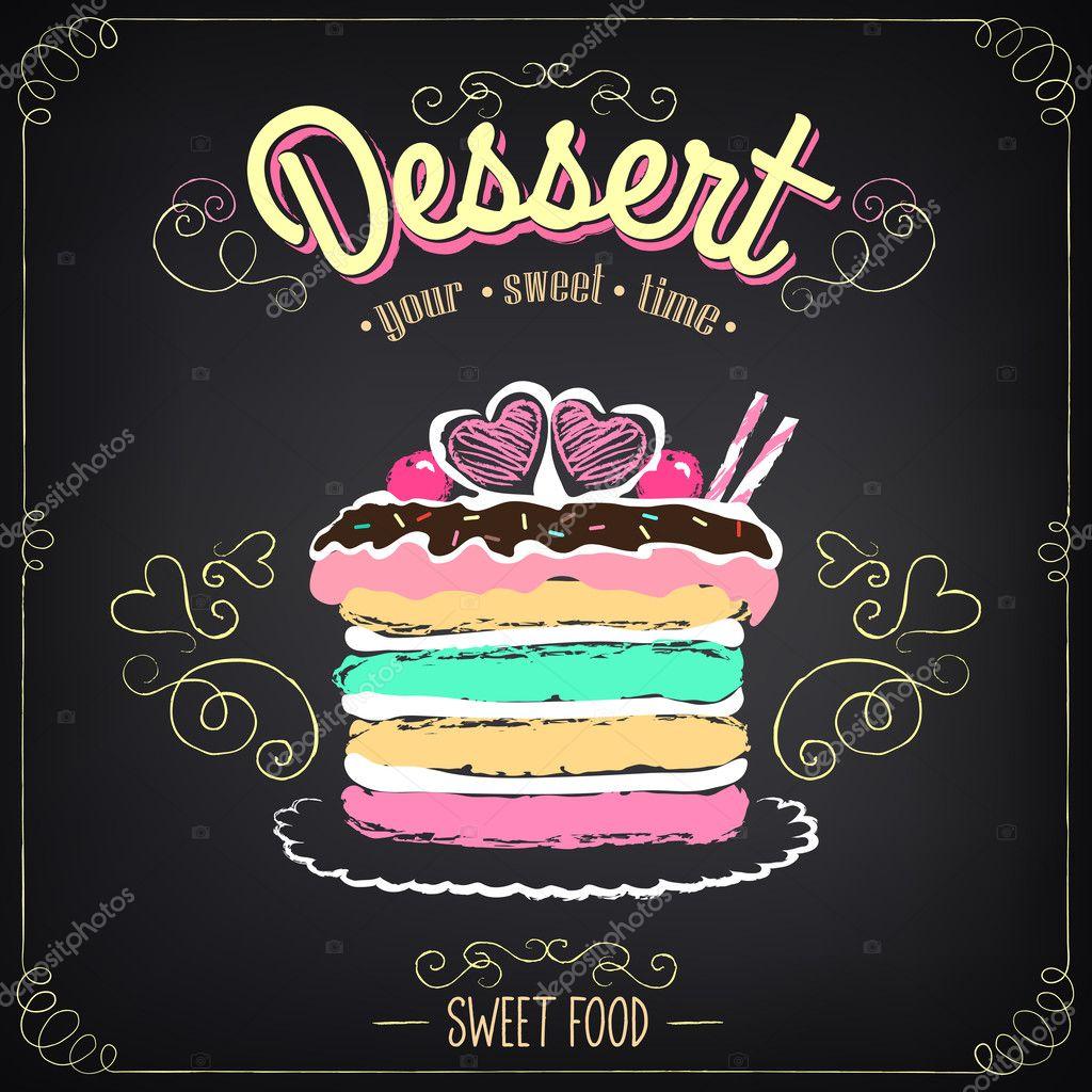 Dessert g teau marquage la craie dessin main lev e - Dessert dessin ...