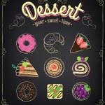 Sweet dessert set on a blackboard. Dessert Menu — Stock Vector #44192797