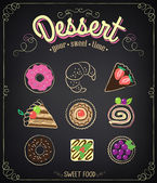 Sweet dessert set on a blackboard. Dessert Menu — Stock Vector