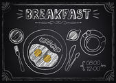 Vintage Poster Breakfast with fried eggs and coffee. Freehand drawing  — Stock Vector