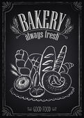 Vintage Bakery Poster with pastry. Freehand drawing — Stock Vector