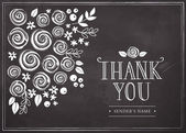 Thank you card with floral background — Stock Vector