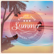 Vintage card with a beautiful sunset on a tropical beach — Stock Vector #48367373