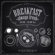 Vintage Poster. Breakfast menu. Fried eggs, coffee. Freehand drawing. Set of sketches — Stock Vector #50687541