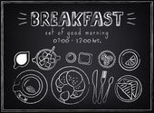 Vintage Poster. Breakfast menu. Sketches  for design in retro style — Vector de stock