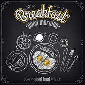 Vintage Poster. Breakfast. Fried eggs, tea. Freehand drawing. Set of sketches  — Stock Vector