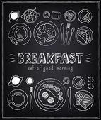 Vintage Poster. Breakfast menu. Sketches  for design in retro style — Stockvector