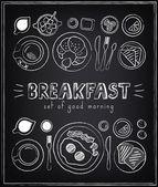 Vintage Poster. Breakfast menu. Sketches  for design in retro style — Stockvektor