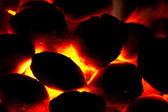 Charcoal bricket fire for barbecue — Stock Photo