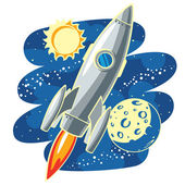 Rocket in Outer Space — Stock Vector