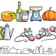 Funny mice and kitchen items — Vector de stock