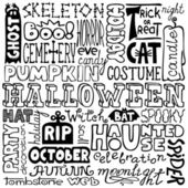 Doodles - hand-drawn halloween text words — Stock Vector