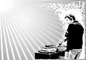 Black and white dj silhouette — Stockvektor