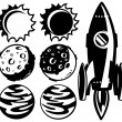 Black and white rocket and planets — Stock Vector #34465477