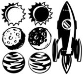 Black and white rocket and planets — Stock Vector