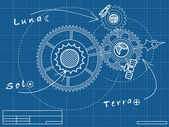 Blueprint of space mechanic - with planets, stars, gearwheels — Stock Vector