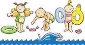 Fun children on a beach — Vector de stock