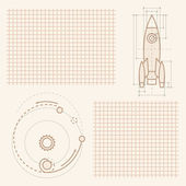 Drawings of spaceship — Stock Vector