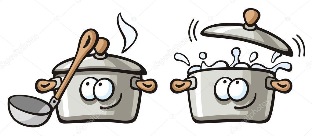 Casserole de soupe avec leau bouillante image - Casserole dessin ...