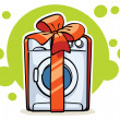 Washer machine with red ribbon and big bow — Imagens vectoriais em stock