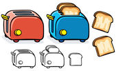 Blue and red toasters — Stock Vector