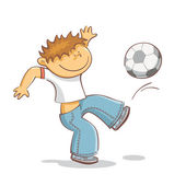 Jongen schoppen voetbal — Stockvector