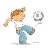 Niño pateando fútbol — Vector de stock