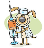 Cartoon dog with syringe — Vecteur