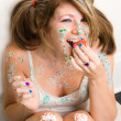 Messy Cupcake Eater — Stock Photo