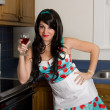 Woman and Wine — Stock Photo