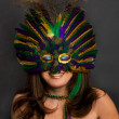 Woman in Mardi Gras Masks — Stock Photo