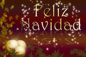 Merry christmas postcard in spanish — Stockfoto