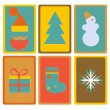 New Year and Christmas icons set trendy retro style vector  — Stock Vector