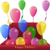 Holiday Ballons from red Box present Greeting card Background — Stok Vektör