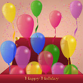 Holiday Ballons from red Box present Greeting card Background — 图库矢量图片