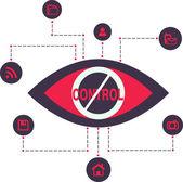 Total Control Spy surveillance technology Vector Icons — ストックベクタ